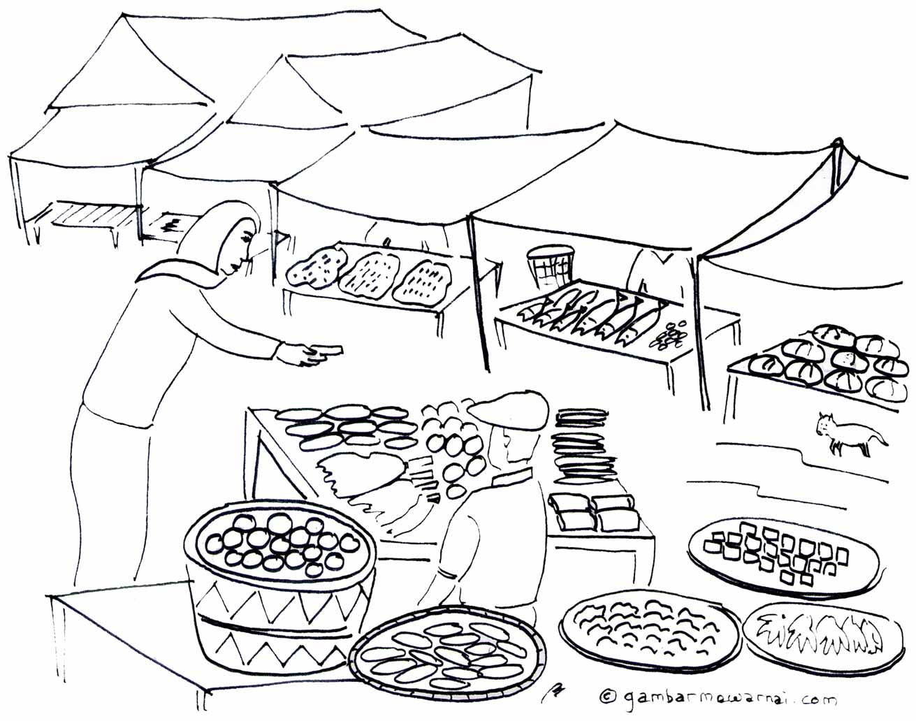 Contoh Gambar Kartun Pasar