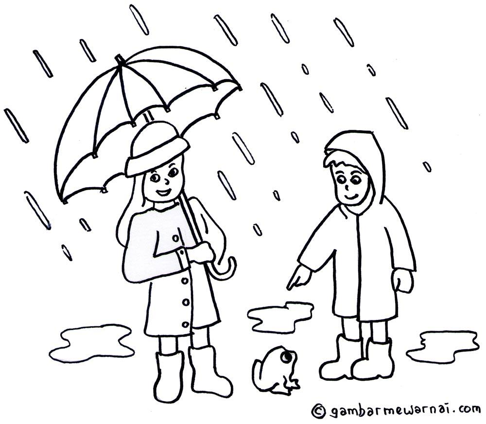 Kumpulan Gambar Hujan Sketsa Sketsa Gambar